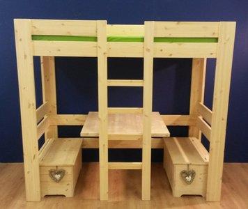 Hoogslaper / Stapelbed MAUD met tafel en 2x bankje