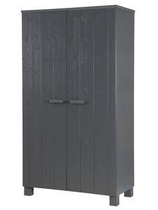 2-deurskast DENNIS geborsteld staalgrijs