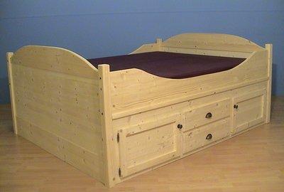 2 p.bed ONDERBOUW aan 1 kant kastjes